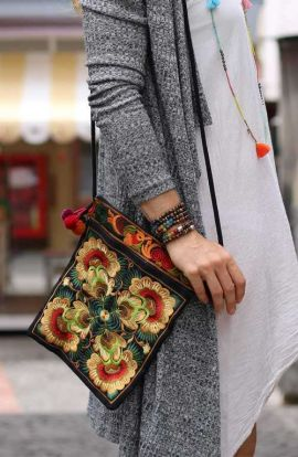 Cross Body Bag -Mustard Floret