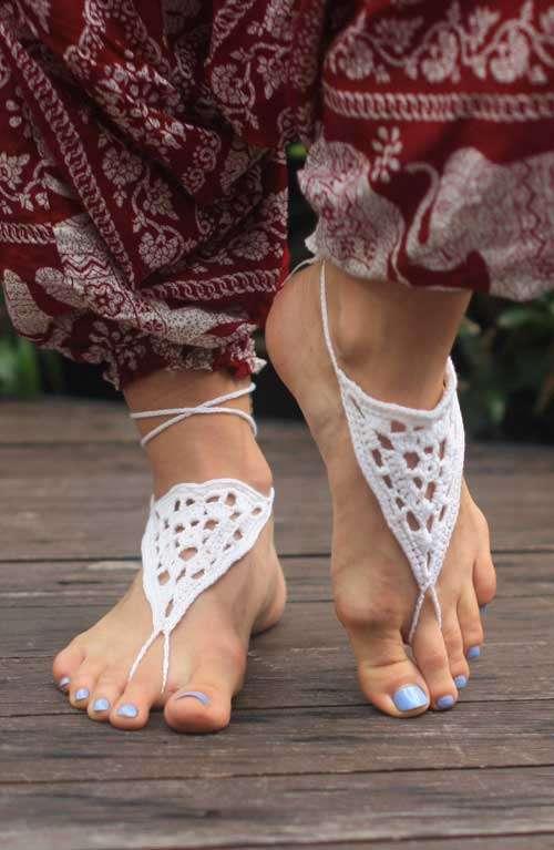 Barefootsandals - Crochet White