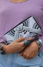 Women's Boho Purse - Silver Deco