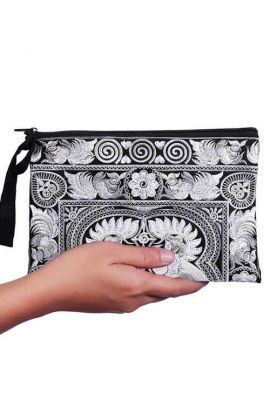 Boho Women's Purse - Silver Bird