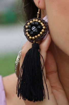 Athena Long Tassel - Jet Black