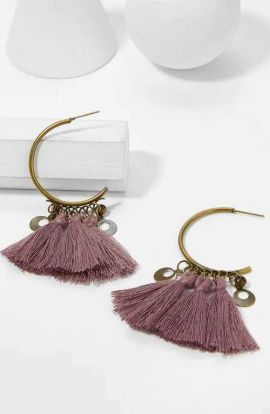 Open Hoop Tassel Earrings