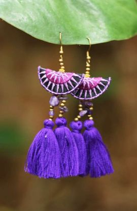 Mia Double Tassel Earrings - Deep Purple