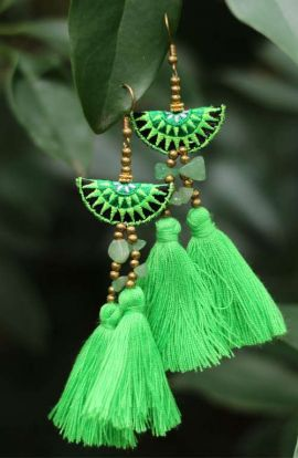 Mia Double Tassel Earrings - Green