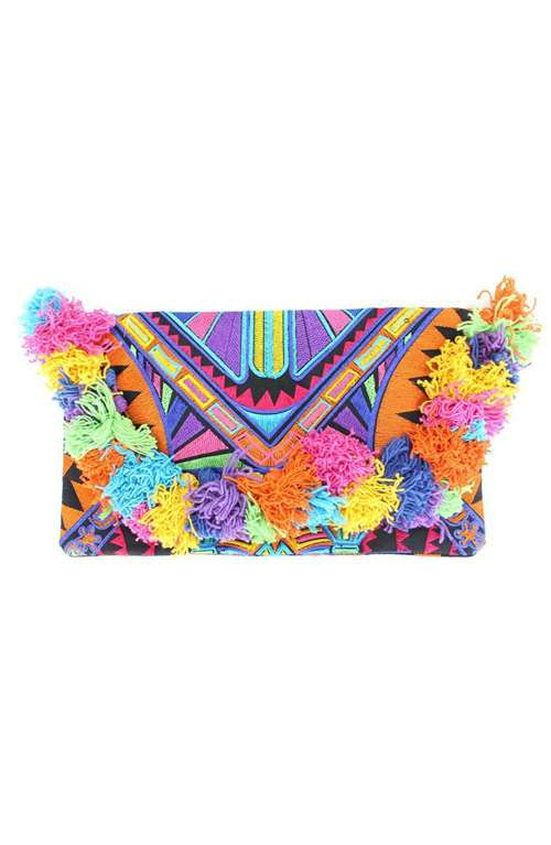 Colorful Bird Clutch with Hairs