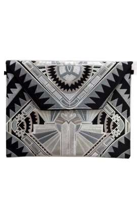 Oversized Clutch - Silver Deco