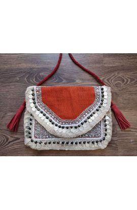 Iris Orange Jute Beaded Indian Clutch