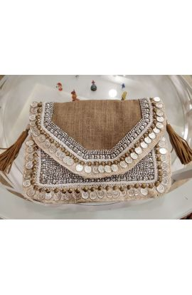 Petrichor Brown Jute Beaded Indian Clutch