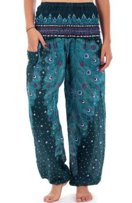 Plume Peacock Harem Pants - Teal