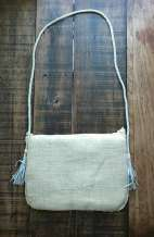 Enya White Jute Beaded Indian Clutch