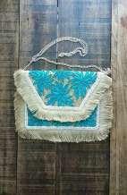 Aphrodite Blue Jute Beaded Indian Clutch