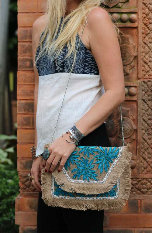 Aphrodite Blue Jute Beaded Indian Clutch