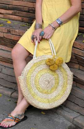 Large Soft Straw Round Tote Bag