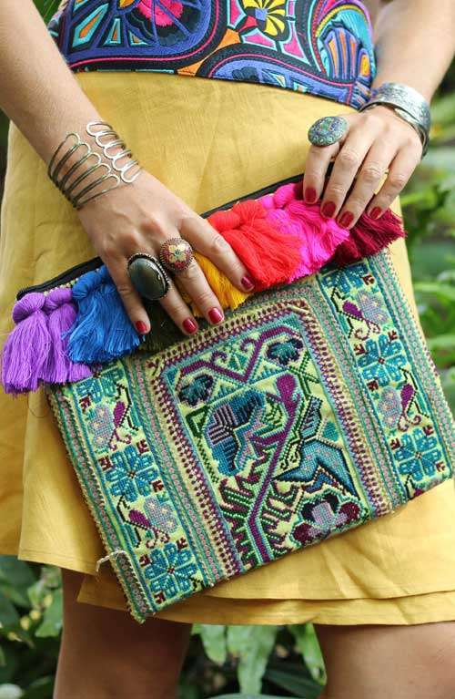 Vintage Clutch - Rainbow Multi Hug