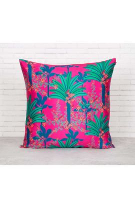 Coral Silk Palms Pink Cushion Cover