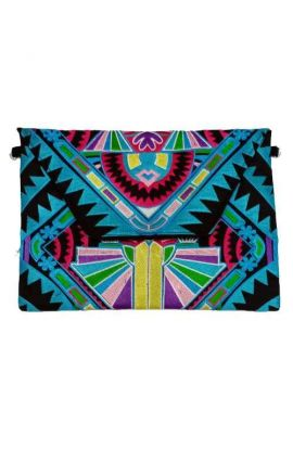 Tabia Oversized Clutch - Turquoise Deco