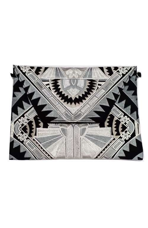 Lioness Oversized Clutch - Silver Deco