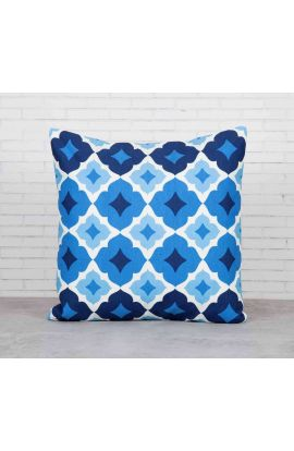 Aquamarine Lattice Cotton Cushion Cover