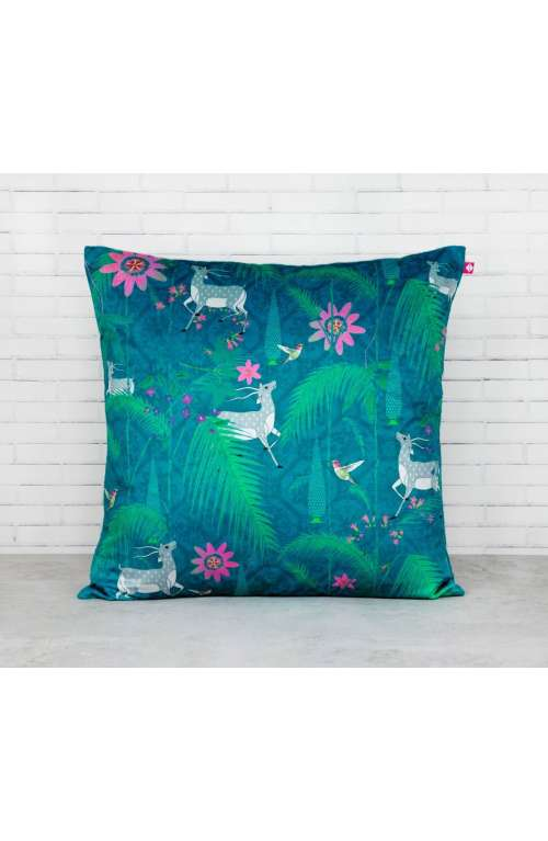 Teal Velvet Jungle Cushion Cover
