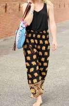 Royal Elephant Harem Pants - Black