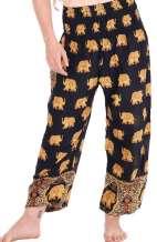 Royal Elephant Harem Pants - Black
