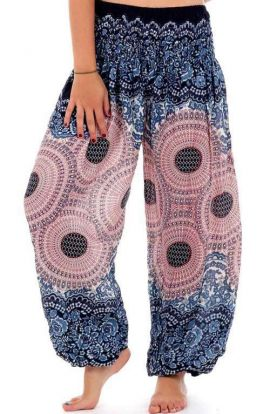 Honey Hive Harem Pants - Copper & Blue