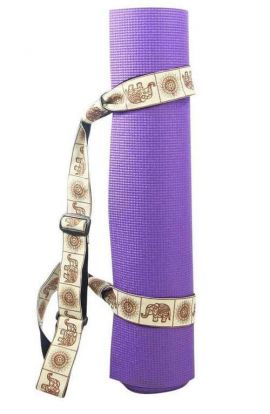 Yoga Mat Strap - Black Elephant