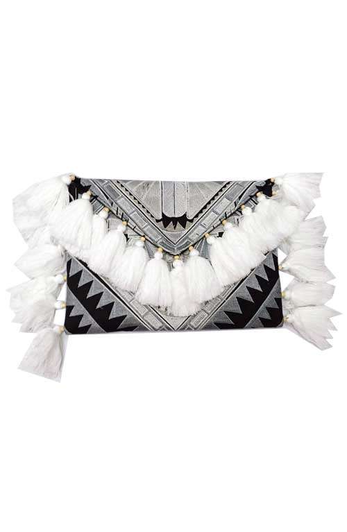 Large Clutch - White Tassel Deco
