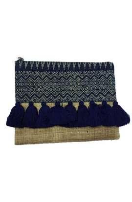 Indigo Clutch - Batik Tassel