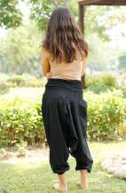 Drop Crotch Harem Pants - Black
