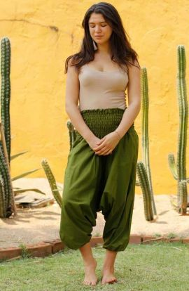 Wide Leg Harem Pants - Olive