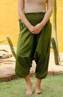 Drop Crotch Harem Pants - Olive