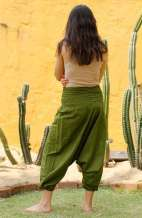 Drop Crotch Harem Pants - Olive