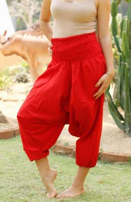 Drop Crotch Harem Pants - Red
