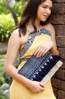 Indigo Clutch - Batik Tassel Large