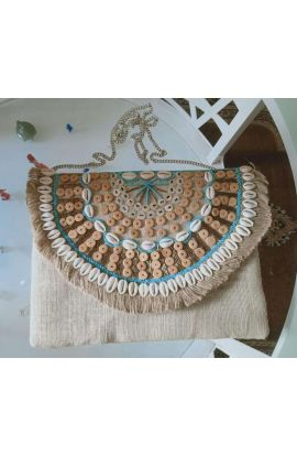 Aloha Blue Jute Shell Clutch