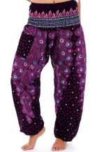 Plume Peacock Harem Pants - Purple