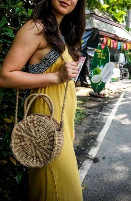 Straw Cross Body Top Handle Bag
