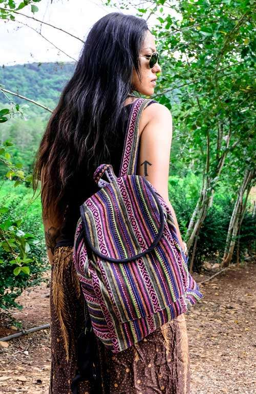 Striped Woven Backpack