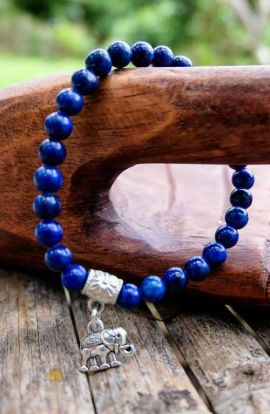 Beaded Charm Bracelet - Elephant Cobalt Blue