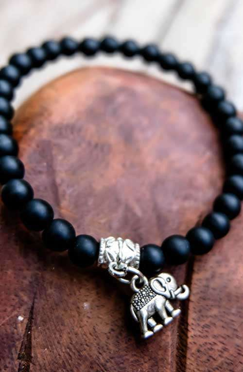 Bohemian Beaded Bracelet - Elephant Charm Black