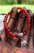 Elephant Charm Bracelet - Candy Red