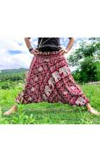 Drop Crotch Harem Pants - Red
