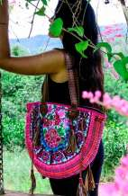 Large Embroidered Rose Bohemian Bag
