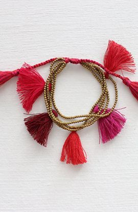 Red multi strand wrap bracelet