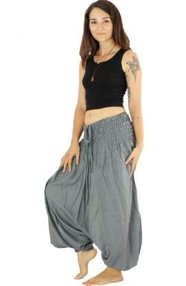 Classic Drop Crotch Harem Pants - Grey