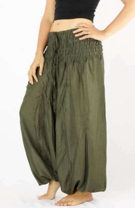 Classic Drop Crotch Harem Pants - Olive