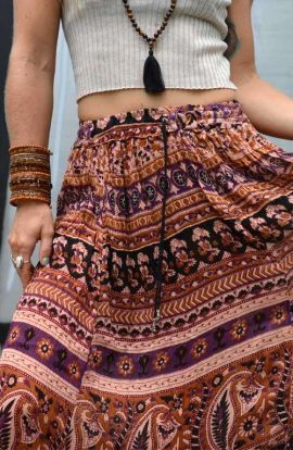 Bohemian Skirt - Feathered Flower
