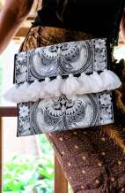 Large Black & White Clutch - Hmong Bird