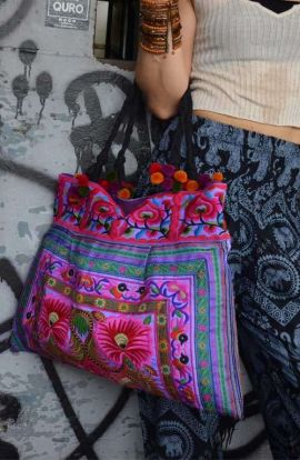 Sandy Beach Bag - Purple Flower